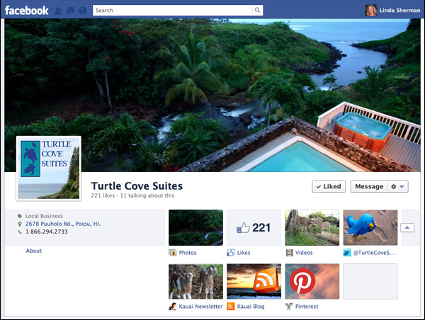Image of Turtle Cove Suites Custom App Tabs and Cover Photo