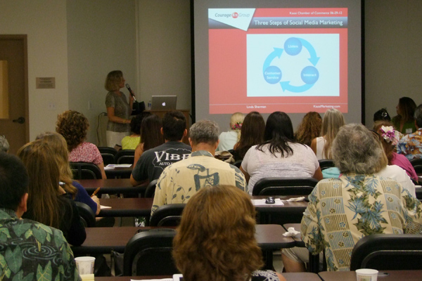 Linda Sherman teaching OCET Kauai Chamber Social Media