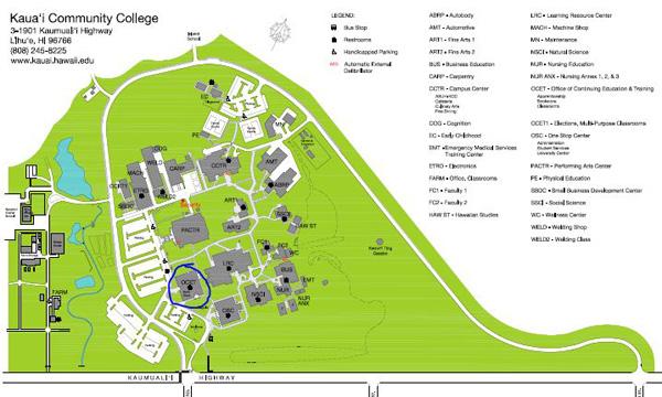 KCC OCET building location map Kauai Education