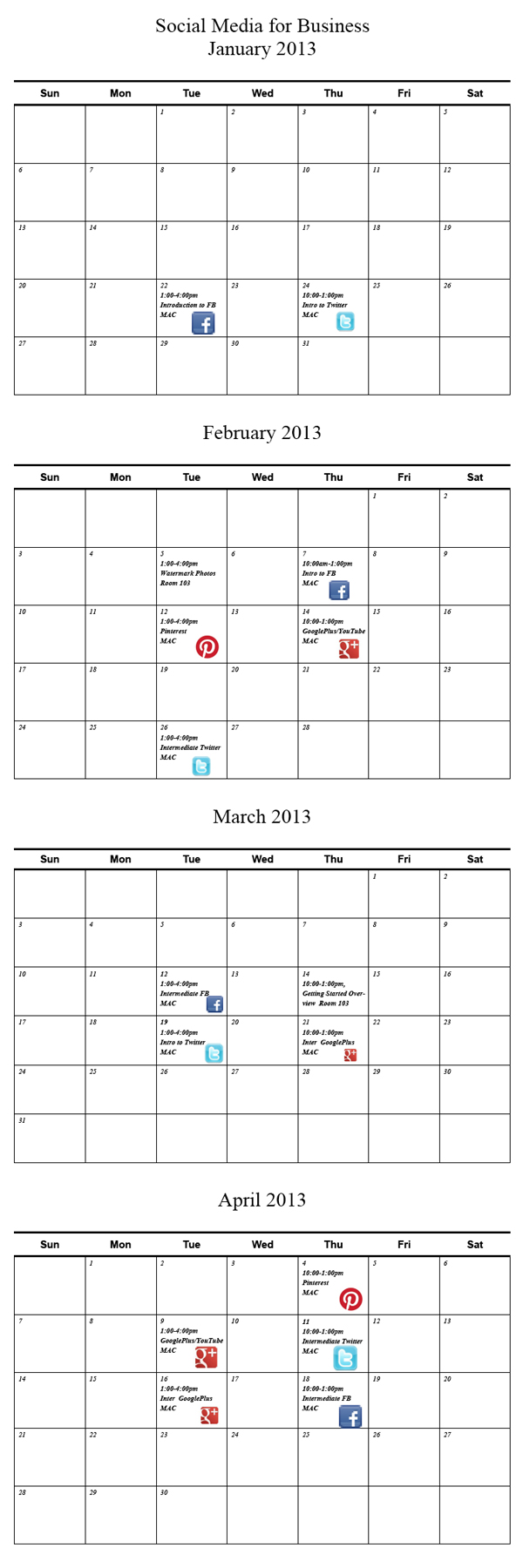 Calendar for Jan - April Linda Sherman Social Media for Biz classes