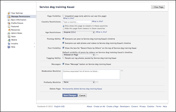 manage permissions screen in facebook setup