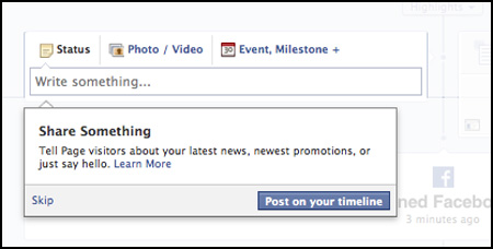 share something during Facebook Page setup