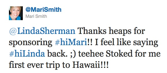 Mari Smith tweets about her visit to Hawaii to present