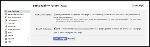 screen shot facebook page timeline comment as page on off for Kauai Marketing