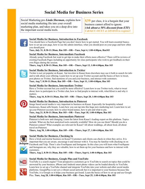 Social Media for Business with Linda Sherman KCC OCET flyer