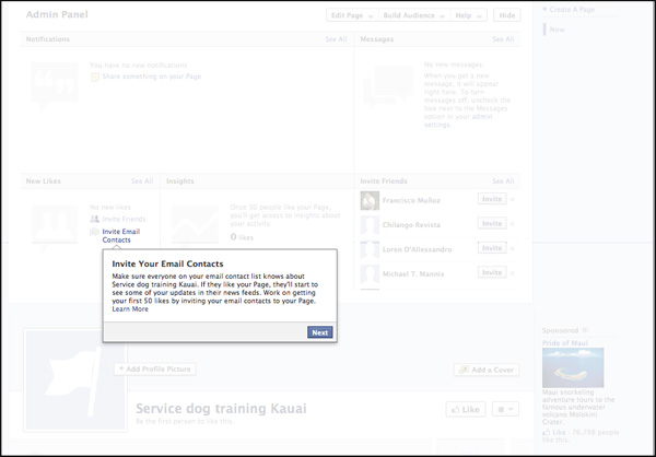 invite email contacts on Facebook setup
